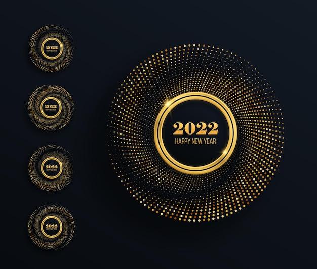 Set goldener glitzernder rahmen mit luxuriösen leuchtenden punkten festlicher kreis für grafikdesign