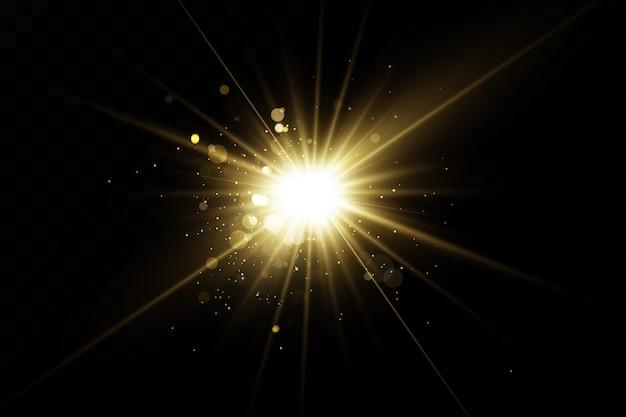 Set goldener lichteffekte. blitze und blendungen. helle lichtstrahlen. leuchtende linien. illustration. weihnachtsblitz. staub.