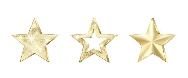 Set goldener sterne mit glitzer