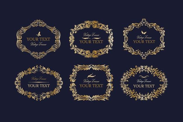 Set goldener vintage-rahmen