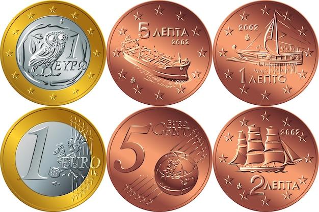 Set griechisches geld gold- und bronzemünze