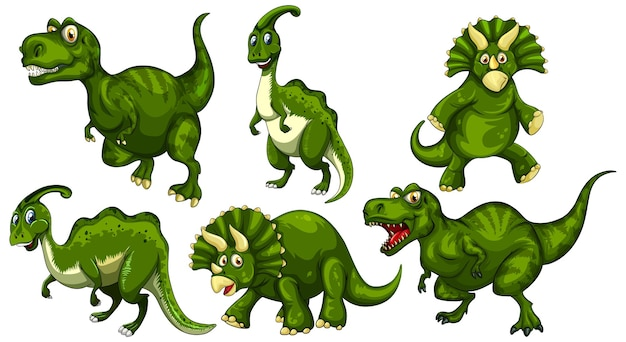 Set grüner dinosaurier-cartoon-figur