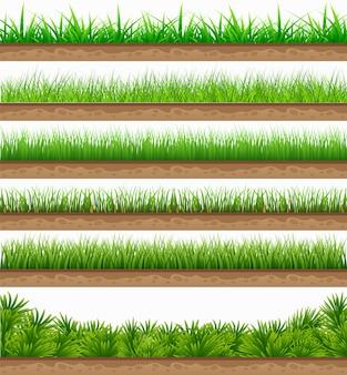 Set grünes gras mit isoliert