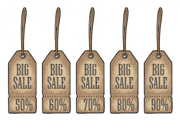 Set hängenden sale-tag. rabattpreis mit bis zu 50 - 90 prozent text.