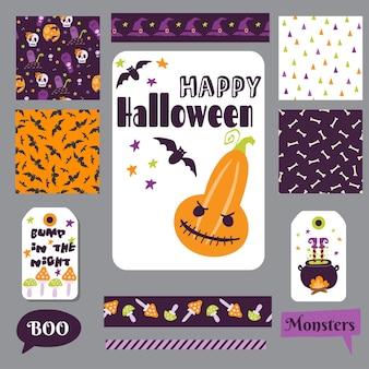 Set halloween druckbare karten banner aufkleber und notizen