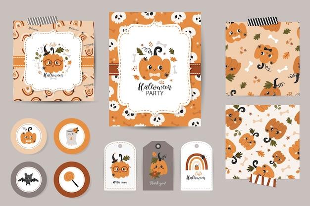 Set halloween-einladungen, dankeskarten, tags und nahtlose muster.