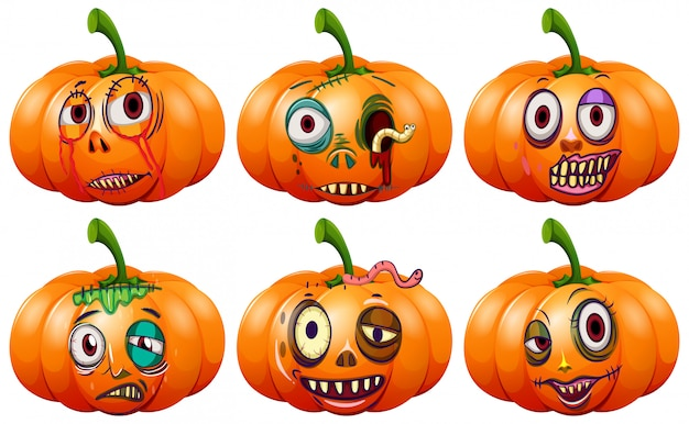 Set halloween-kürbis