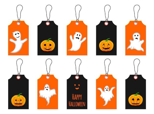 Set halloween marken oder kennsätze. cartoon-stil