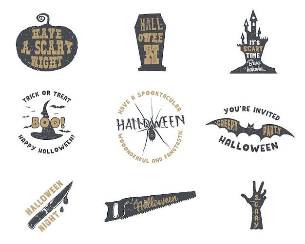 Set halloween-schattenbildabzeichen. vintage hand gezeichnetes halloween-parteilogodesign für das feiern des feiertags.