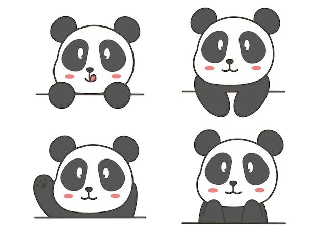 Set hand zeichnen niedlichen panda.