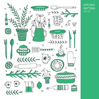 Set handgezeichneter küchenelemente