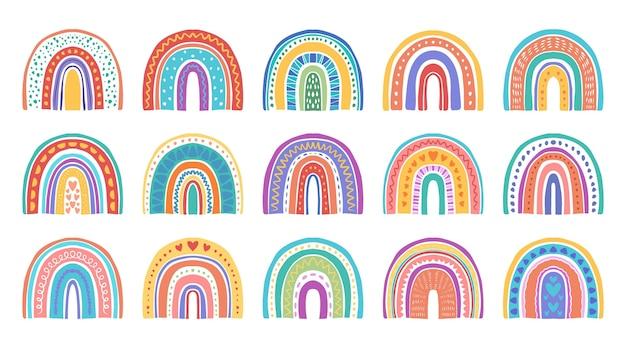 Set handgezeichneter regenbogenaufkleber
