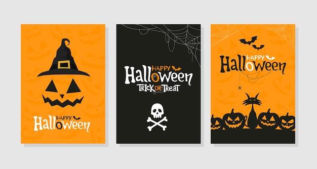 Set happy halloween-grußkarten partyeinladungen