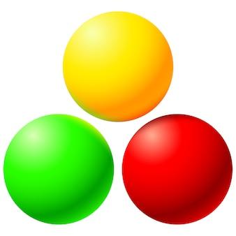 Set helle farbige kugeln