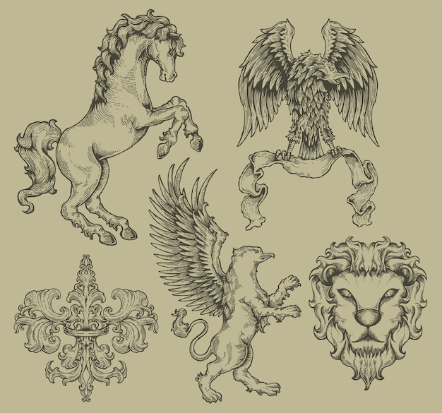 Set heraldik wappen wappen gravur