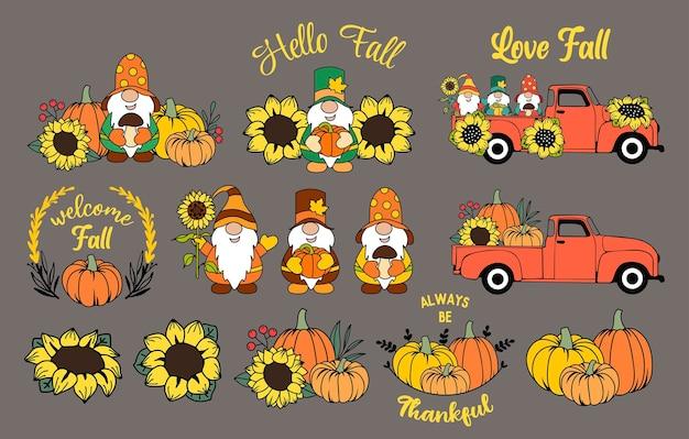 Set herbstelemente herbstzwerge kürbisse und sonnenblumen thanksgiving