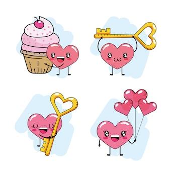 Set herz mit muffin und schlüssel mit ballons zum valentinstag