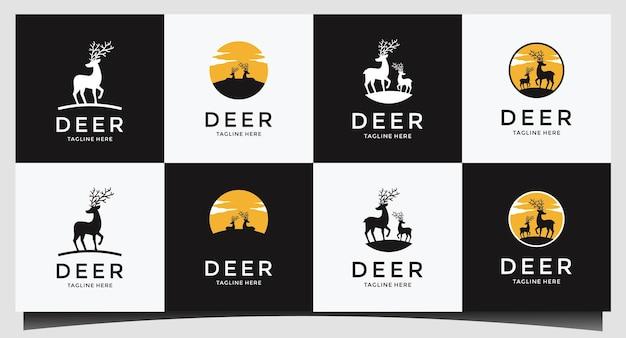 Set hirschjäger emblem logo design vektor Premium Vektoren