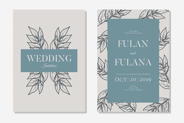 Set hochzeit einladungskarte mit abstrakten hand gezeichneten doodle botanischen kranz blumen hintergrundvorlage