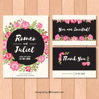 Set hochzeitseinladungen mit rosa blumen