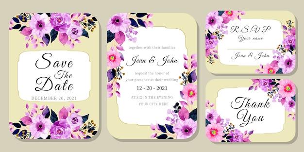Set hochzeitseinladungskarte mit lila aquarell blumen
