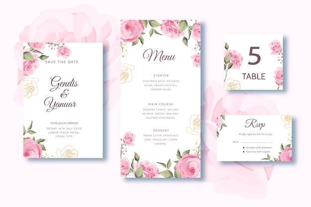 Set hochzeitskarte menü mit schönen rosen