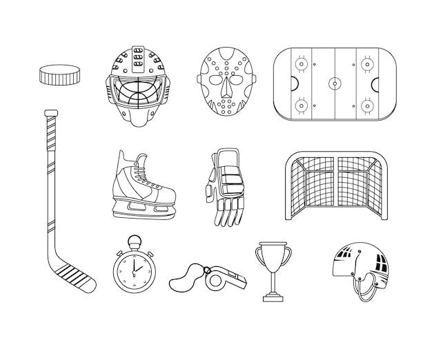 Set hockey ausrüstung und professionelle uniform