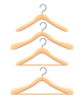 Set holzbügel. vier verschiedene kleiderbügel. . illustration auf weißem hintergrund. website-seite und mobile app.