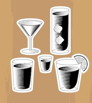 Set holzschnitt-cocktails
