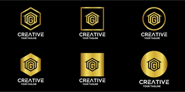 Set home-logo kombiniert mit buchstabe g gold