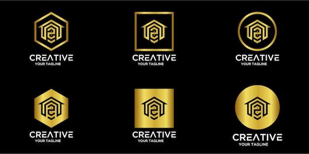 Set home-logo kombiniert mit buchstabe z gold