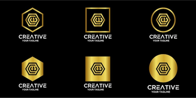 Set home-logo kombiniert mit buchstaben cw gold