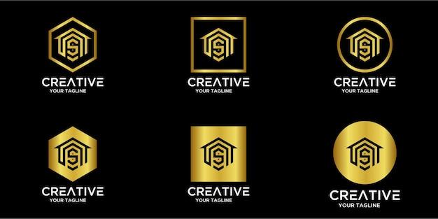 Set home-logo kombiniert mit buchstaben s gold