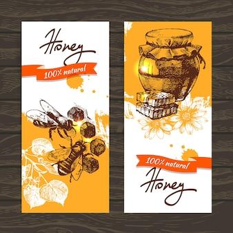 Set honigbanner mit handgezeichneten skizzenillustrationen