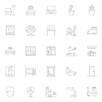 Set house hold vektor gliederungssymbol