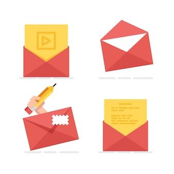 Set-icon von postumschlag, neue e-mail senden nachricht, brief lesen