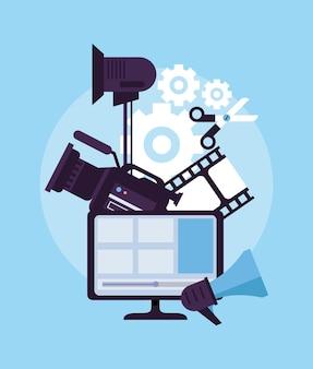 Set-icons für kamera und videoproduktion