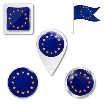 Set icons nationalflagge der europäischen union Premium Vektoren