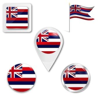 Set icons nationalflagge der insel hawaii