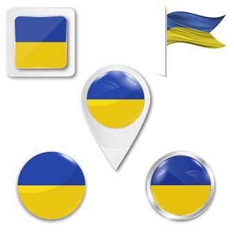 Set icons nationalflagge der ukraine