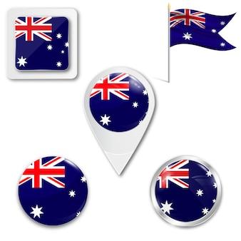 Set icons nationalflagge von australien