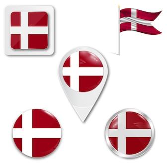 Set icons nationalflagge von dänemark