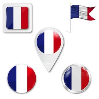 Set icons nationalflagge von frankreich