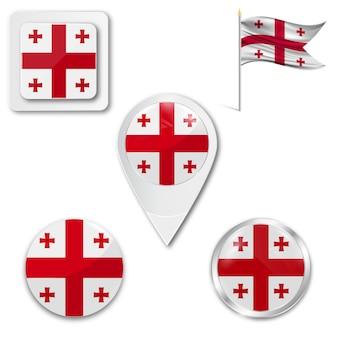 Set icons nationalflagge von gergia