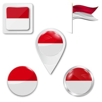 Set icons nationalflagge von indonesien