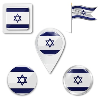 Set icons nationalflagge von israel