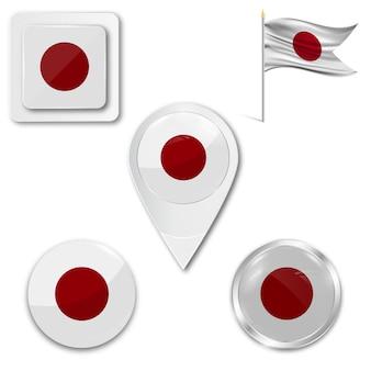 Set icons nationalflagge von japan
