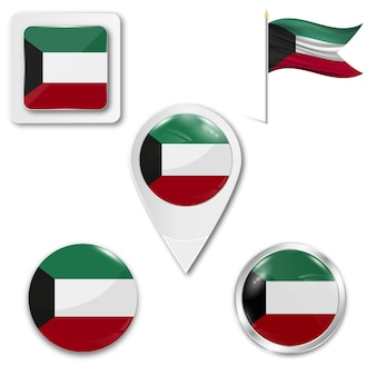 Set icons nationalflagge von kuwait