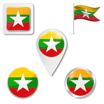 Set icons nationalflagge von myanmar birma