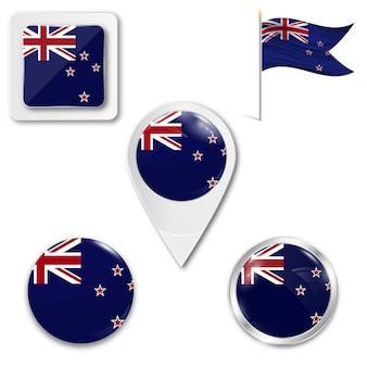 Set icons nationalflagge von neuseeland
